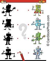 ombre, jeu, robots