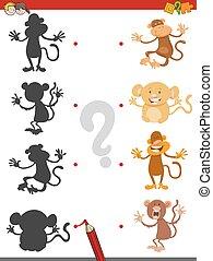 ombre, jeu, singes