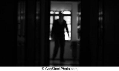 ombre, marche, homme