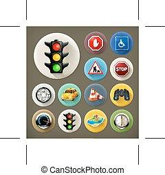 ombre, navigation, long, icônes