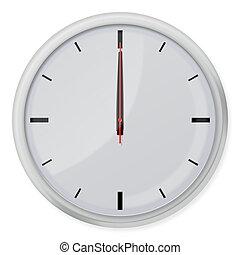 ombre, orologio, parete, isolato, fondo., bianco, rotondo