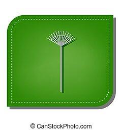 ombre, pelouse, argent, écologique, rapiécé, leaf., signe., ligne, râteau, vert, illustration., sombre, icône, gradient