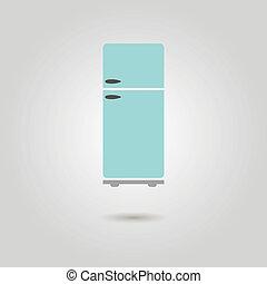ombre, réfrigérateur, icône