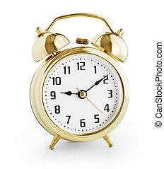 ombre, ritaglio, fatto, oro, orologio, allarme, metallo, isolato, senza, included, percorso