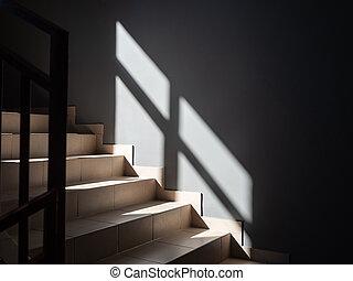 ombre, soleil, tomber, étapes, partiellement, fenêtre, gris, éclairé, mur, lumière, photos