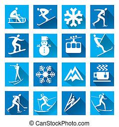 ombre, sport, hiver, icônes