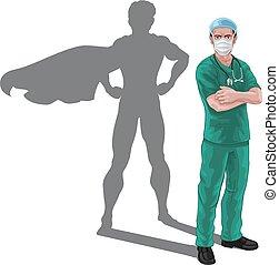 ombre, super, infirmière, héros, superhero, docteur