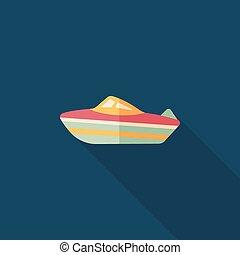 ombre, transport, bateau, eps10, icône, plat, long