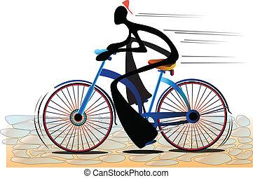 ombre, vélo, homme
