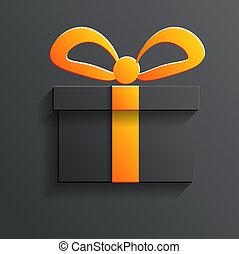 ombre, vecteur, cadeau, icône