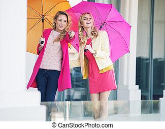 ombrelli, amiche, colorito, attraente