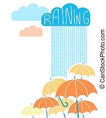ombrelli, nubi, fondo, pioggia