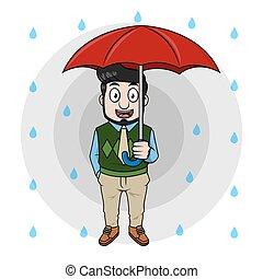 ombrello, affari, presa a terra, uomo