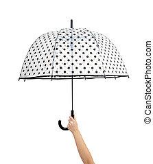 ombrello, aperto, mano