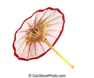 ombrello, bianco, fatto mano, fondo