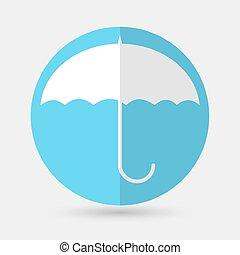 ombrello bianco, fondo, icona