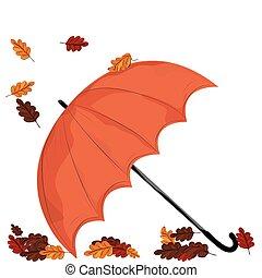 ombrello, card., aceri, illustrazione, autunno, vettore