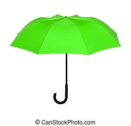 ombrello, classico, isolato, verde, studio, bianco, colpo