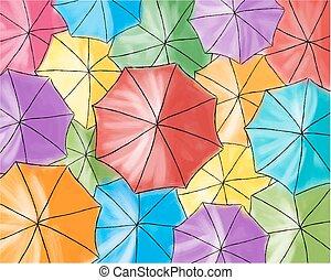 ombrello, colorato, modello, -, rosso, ombrelli