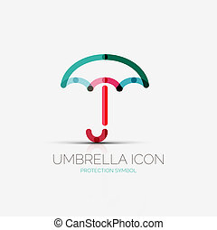 ombrello, ditta, concetto, logotipo, protezione