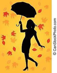 ombrello, donna, silhouette, presa a terra