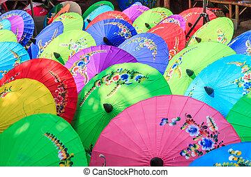 ombrello, fatto mano, chiang, carta, mai, tailandia