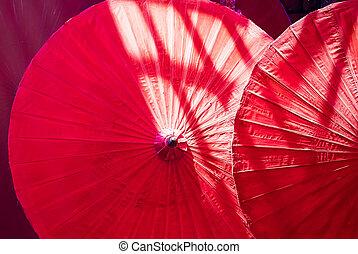 ombrello, fatto mano, dettaglio, su, asiatico, chiudere, decorato