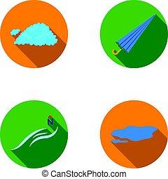 ombrello, ground., set, vento nord, pozzanghera, icone, web., stile, collezione, vettore, appartamento, illustrazione, tempo, nuvola, simbolo, casato