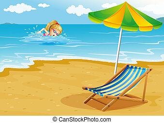 ombrello, illustrazione, riva, ragazza, sedia spiaggia, ...