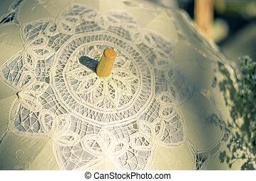 ombrello, laccio, (vintage, accessorio, matrimonio, style)