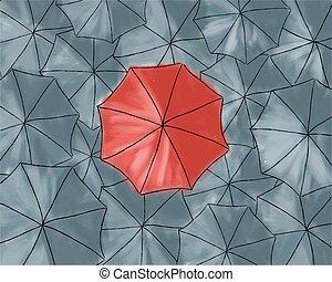 ombrello, modello, -, grigio, rosso, ombrelli