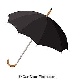 ombrello nero, cartone animato, icona