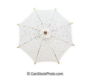 ombrello, ombrello, fatto mano, fondo, merletto, bianco, clipp