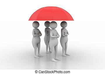 ombrello, persone, tè, sotto, rosso, 3d