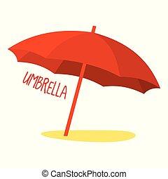 ombrello spiaggia, in, rosso, color., vettore, illustrazione