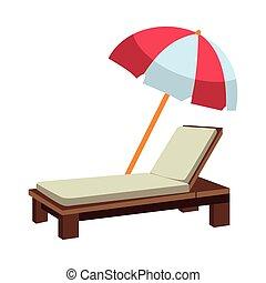 ombrello spiaggia, sunchair, cartone animato