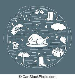 ombrello, symbols., cadere, simboli, autunno, altro, ghiande, pioggia, tacchino, circle., zucca