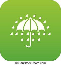 ombrello, vettore, verde, icona