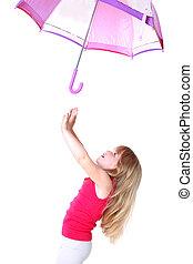 ombrello, volare, isolato, sotto, piccolo, ragazza, bianco