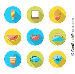 ombres, été, coloré, plat, vacances, moderne, long, symboles, planification, objets, icônes, tourisme, voyage