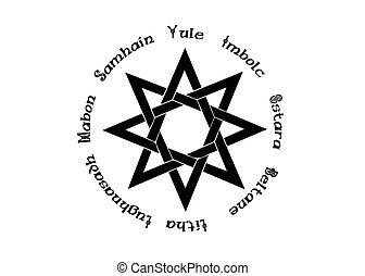 ombres, année, blanc, celtic., holidays., isolé, livre, paganisme, roue, compas, calendrier, huit-pointu, wicca., centre, wiccan, vecteur, moderne, symbole, étoile, enchanté