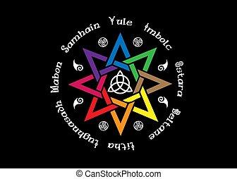 ombres, année, celtic., holidays., isolé, livre, paganisme, roue, compas, calendrier, huit-pointu, wicca., centre, wiccan, vecteur, moderne, symbole, étoile, noir, enchanté