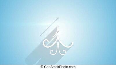 ombres, bleu, arbre, long, forme, noël