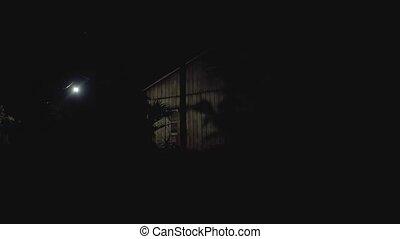 ombres, bois, lumière, sombre, jeu, maison