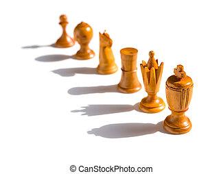 ombres, brun, chesses, haut, fond, ligne, blanc
