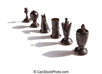 ombres, chesses, haut, arrière-plan noir, ligne, blanc