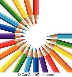 ombres, crayons, coloré, arc-en-ciel, réaliste, fond, cercle, blanc