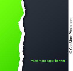 ombres, déchiré, goutte, sombre, papier, arrière-plan vert