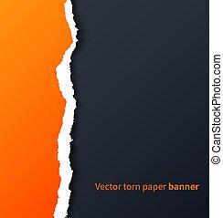 ombres, déchiré, goutte, sombre, papier, fond, orange