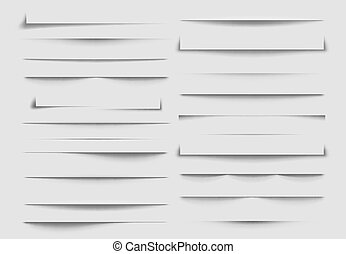 ombres, dividers., sheet., isolé, illustration, jeté, vecteur, papier, ombre